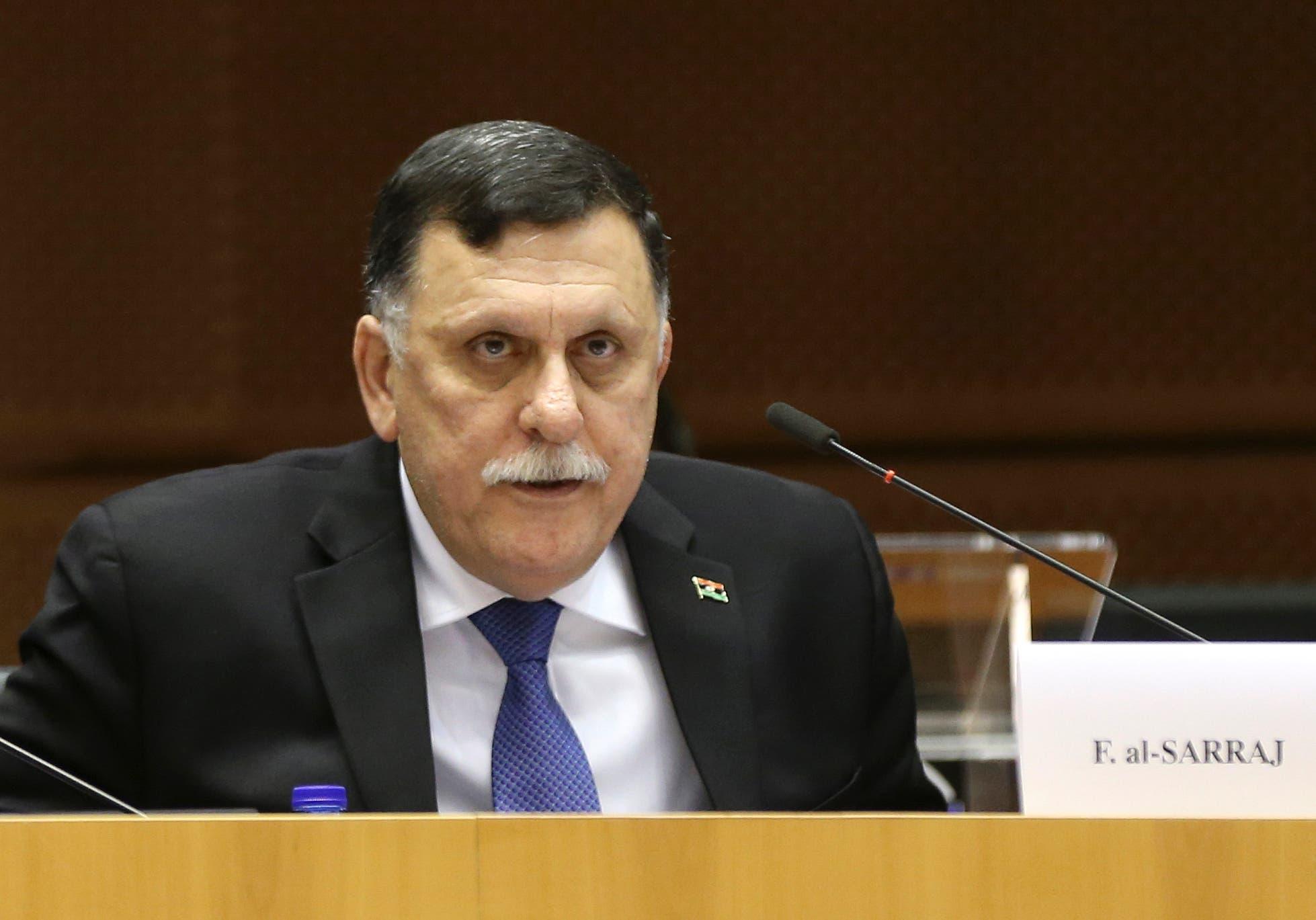 Fayez al-Sarraj addresses a news conference at the EU Commission headquarters in Brussels, Belgium February 2, 2017. (Reuters)
