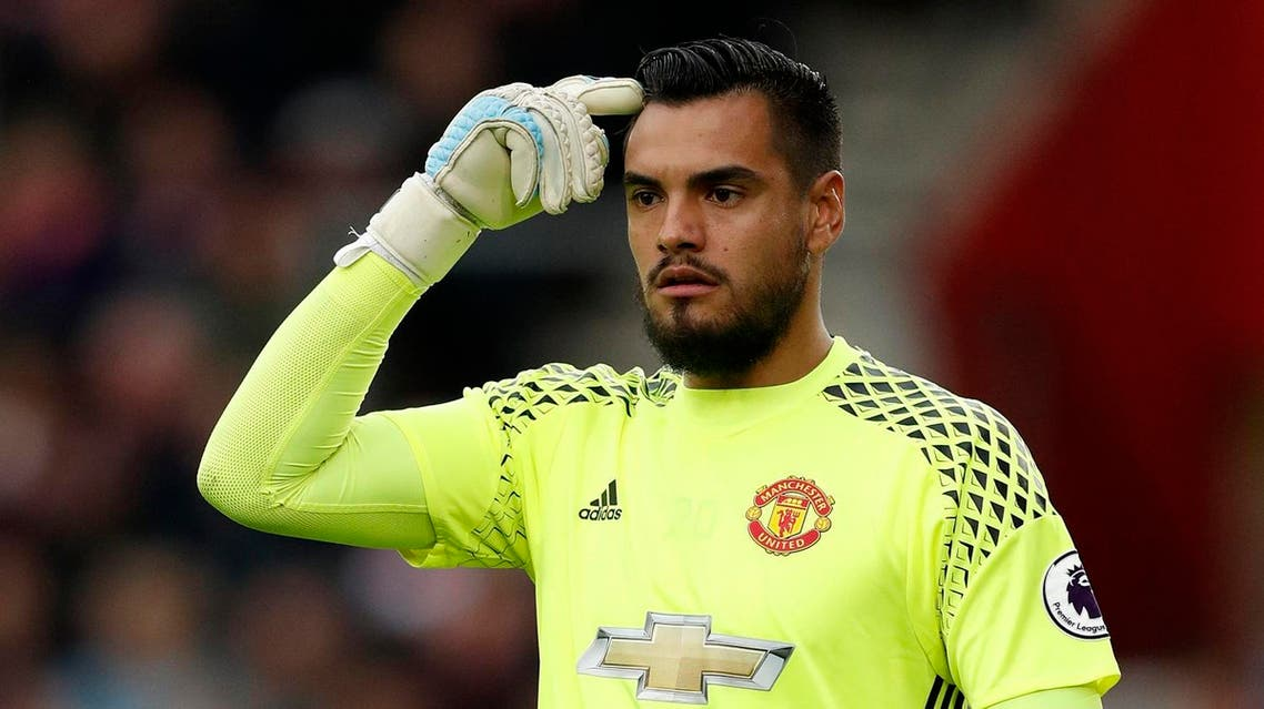 """Britain Football Soccer - Southampton v Manchester United - Premier League - St Mary's Stadium - 17/5/17 Manchester United's Sergio Romero Action Images via Reuters / John Sibley Livepic EDITORIAL USE ONLY. No use with unauthorized audio, video, data, fixture lists, club/league logos or """"live"""" services. Online in-match use limited to 45 images, no video emulation. No use in betting, games or single club/league/player publications. Please contact your account representative for further details. (REUTERS)"""