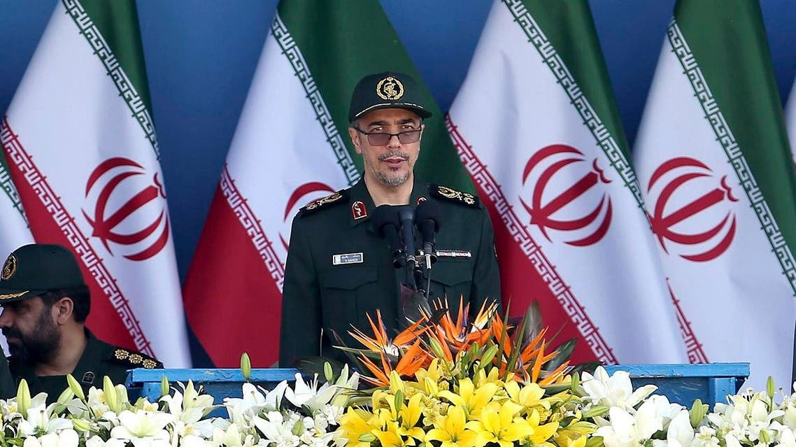 Chief of Staff of Iran's Armed Forces, General Mohammad Hossein Bagheri delivers a speech during a military parade marking the 36th anniversary of Iraq's 1980 invasion of Iran. (AP)