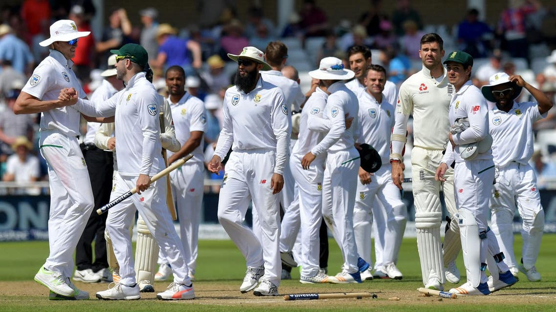 South Africa celebrate taking the wicket of England's James Anderson and winning the match on the fourth day of the second Test at Trent Bridge in Nottingham on July 17, 2017. (AFP)