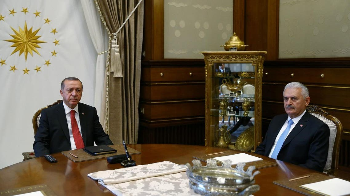 Turkish President Tayyip Erdogan meets with Prime Minister Binali Yildirim in Ankara on July 19, 2017. (Reuters)