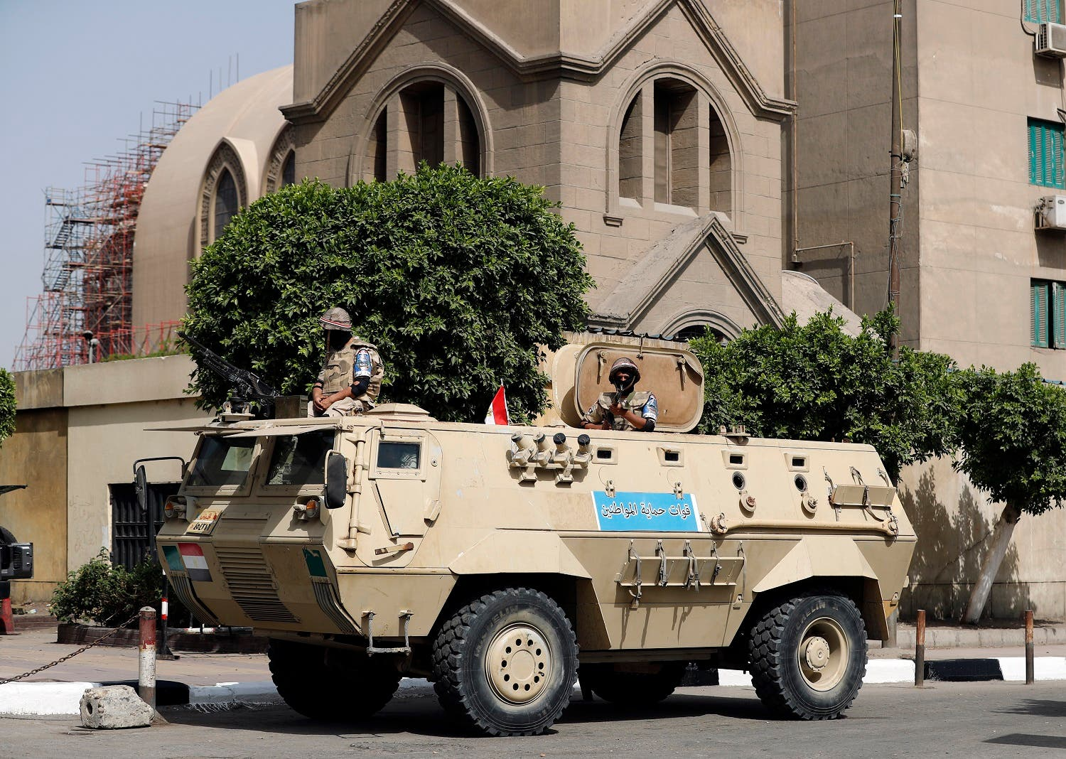 An Egyptian army vehicle stands guard outside Saint Mark's Coptic Orthodox Cathedral in central Cairo, a few hours before Pope Francis' visit commences on April 28, 2017. (AFP)