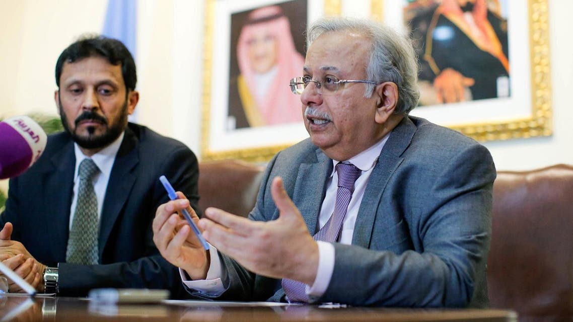 Saudi Arabia's Permanent Representative to the UN, speaks to the media next to Saudi general Mesfer al-Ghanim during a news conference in New York, US, March 1, 2017. (Reuters)