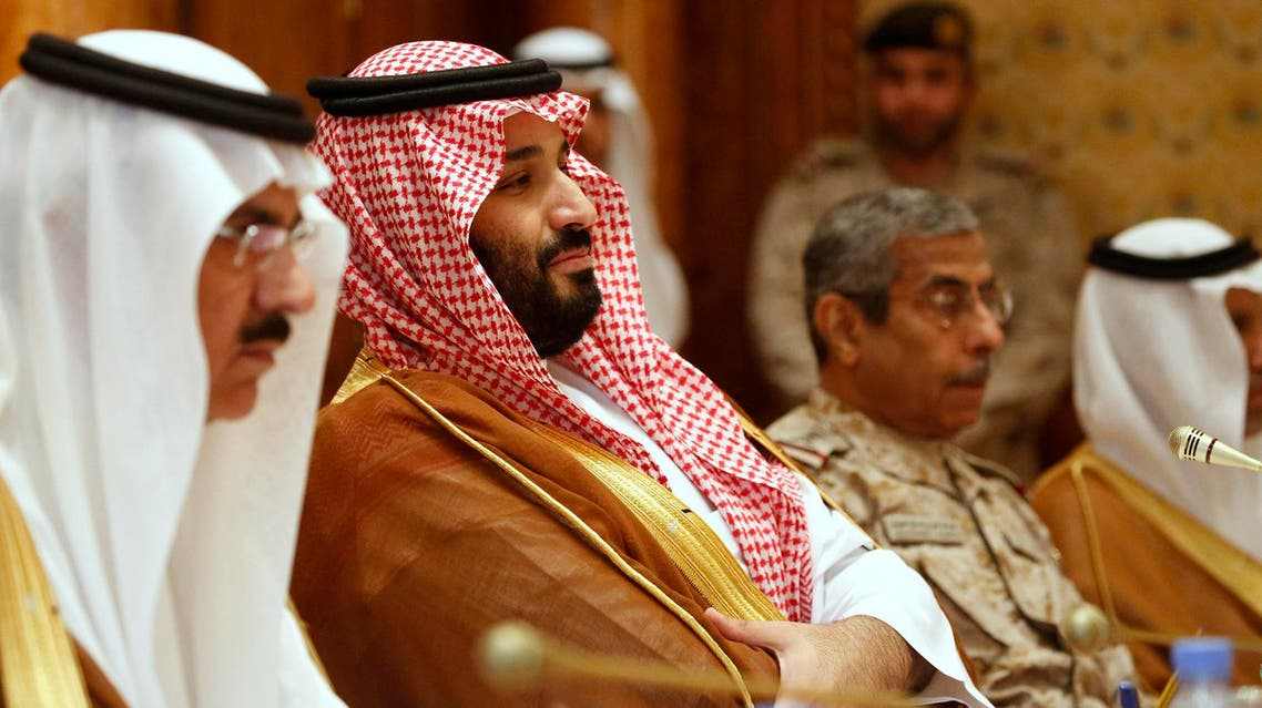 Saudi Deputy Crown Prince Mohammed bin Salman (C) attends a meeting with US Defense Secretary and White House Deputy National Security Advisor in Riyadh on April 19, 2017. (AFP)