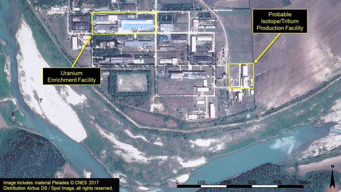 """A satellite image of the radiochemical laboratory at the Yongbyon nuclear plant in North Korea by Airbus Defense & Space and 38 North released on July 14, 2017. """"Includes material Pleiades © CNES 2017 Distribution Airbus DS / Spot Image, all rights reserved."""" Courtesy Airbus Defense & Space and 38 North/Handout via REUTERS"""