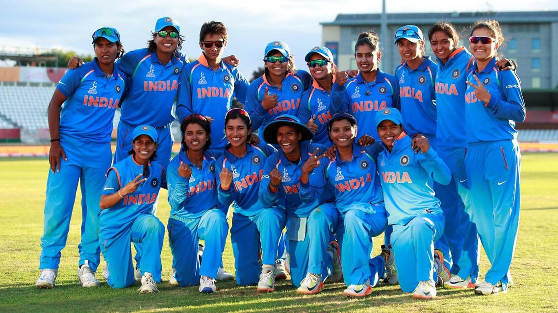 India celebrate winning their semi-final at Derby, England, against Australia in the Women's Cricket World Cup. (Reuters)