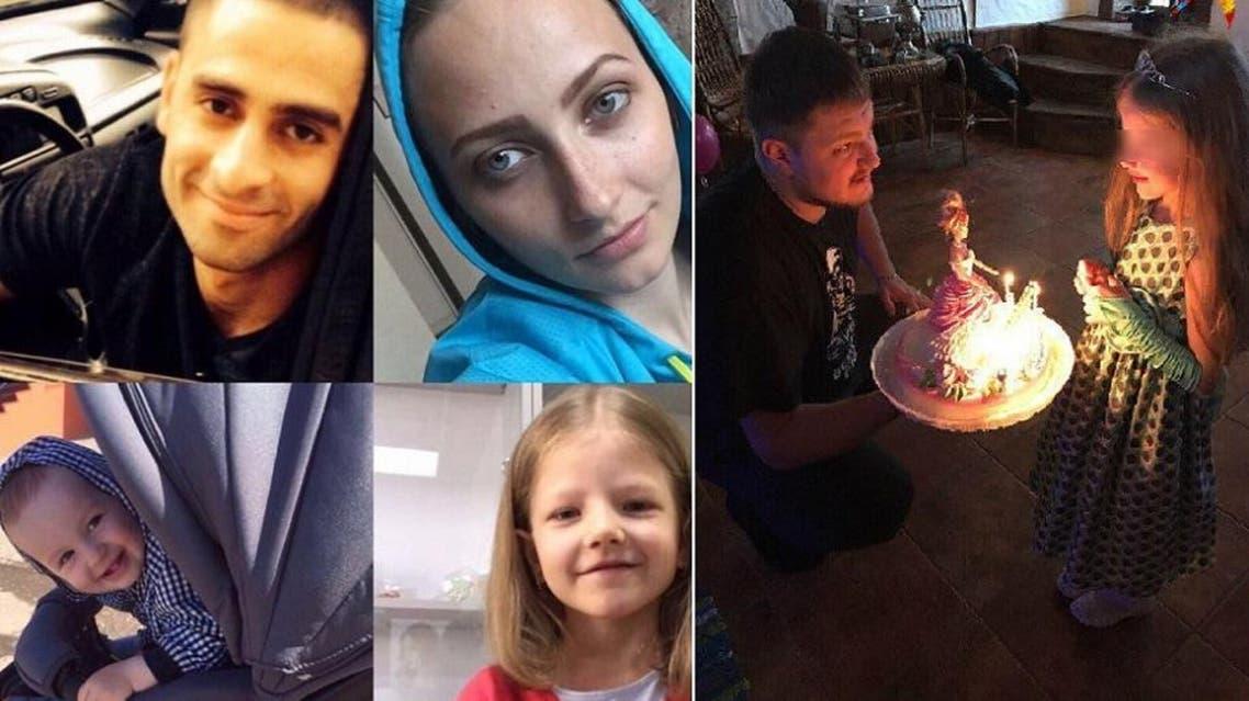 Photos of Ukhanova, her first husband and her daughter. (Al Arabiya)