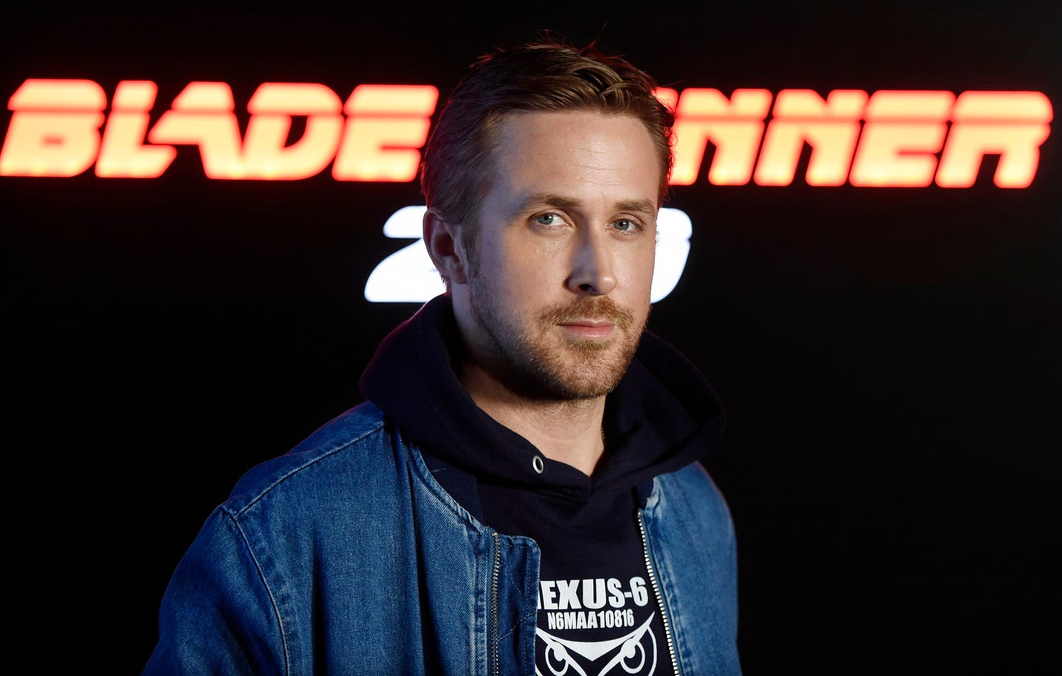 Ryan Gosling, a cast member in the upcoming film 'Blade Runner 2049,' poses during a photo call backstage at at CinemaCon 2017 in Las Vegas. (AP)