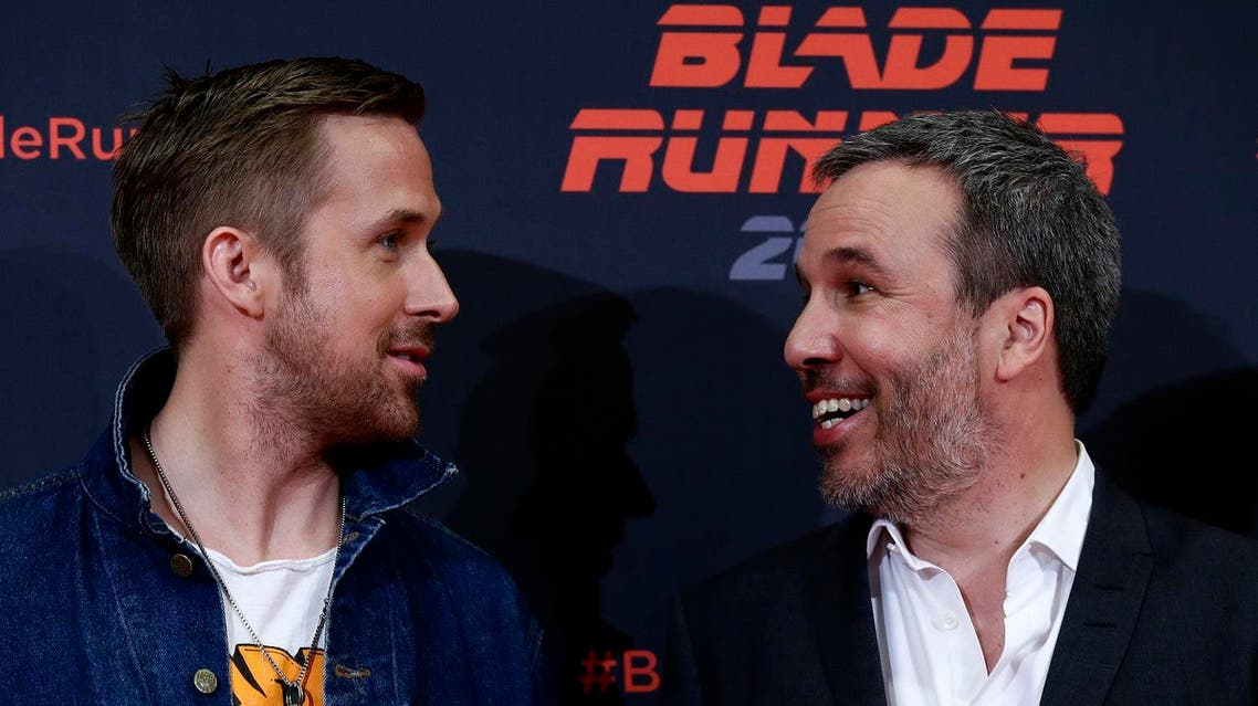 Actor Ryan Gosling (left), and Director Denis Villeneuve pose to the media to promote the film 'Blade Runner 2049' in Barcelona, on June 19, 2017. (AP)