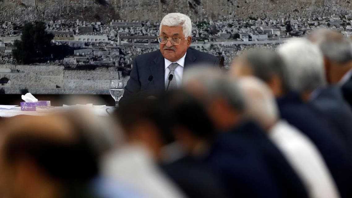 Palestinian president Mahmoud Abbas gives a speech during a meeting of Palestinian leadership in the West Bank city of Ramallah. (AFP)