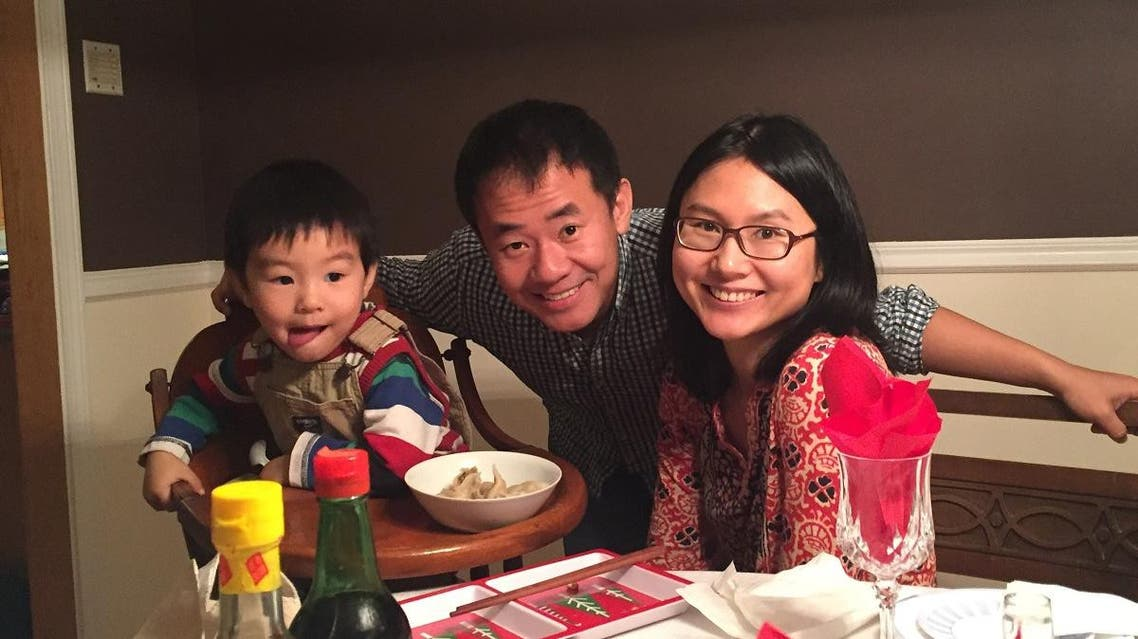 Xiyue Wang, a naturalized American citizen from China, arrested in Iran last August while researching Persian history for his doctoral thesis at Princeton University, is shown with his wife and son in this family photo released in Princeton, New Jersey, U.S. on July 18, 2017. (Reuters)