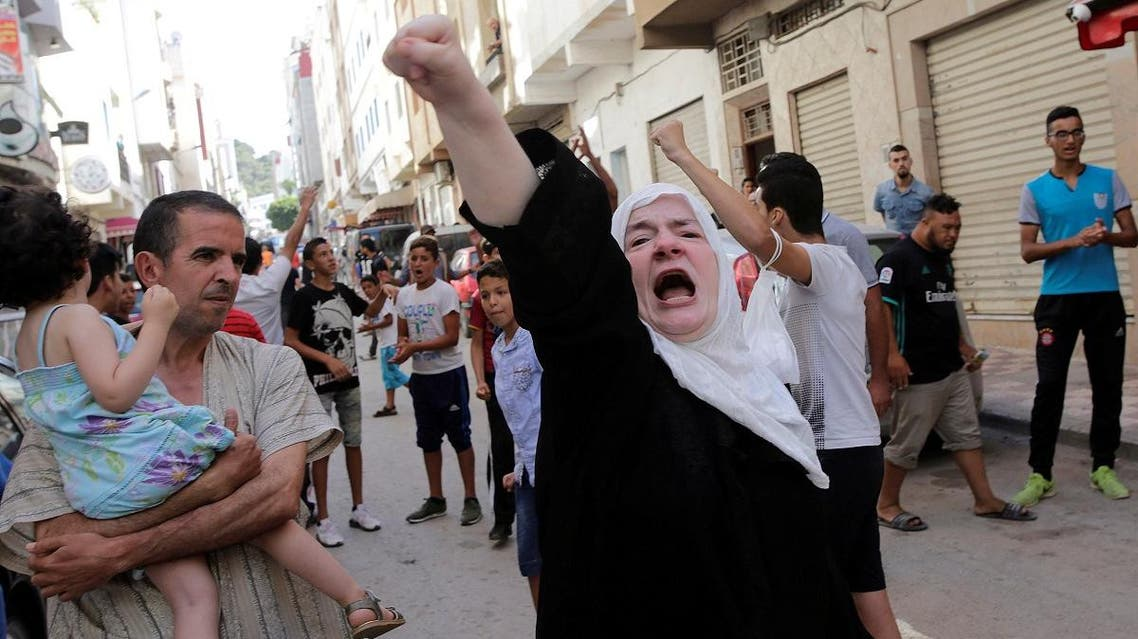 A women shouts slogan during a demonstration against official abuses and corruption in the town of Al-Hoceima. (Reuters)