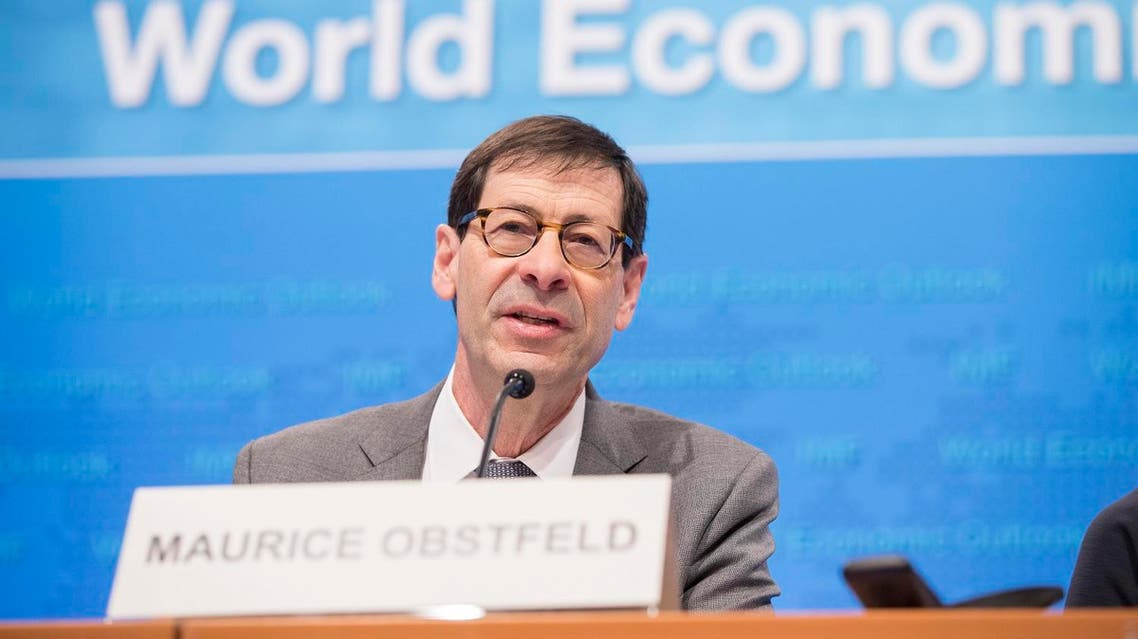 IMF Economic Counsellor and Director of the Research Department Maurice Obstfeld during a press conference at the IMF Headquarters, in Washington DC, on April 18, 2017. (AFP)