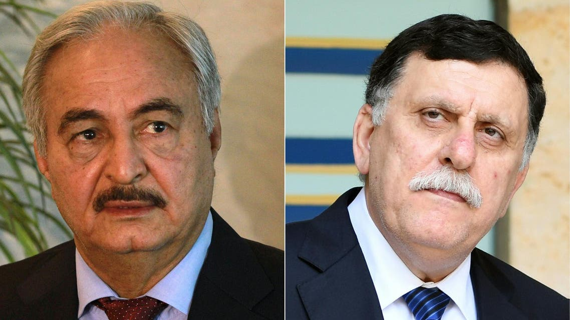 Tuesday's talks would be the second between Sarraj (left) and Haftar in the space of three months. (File photo: AFP)