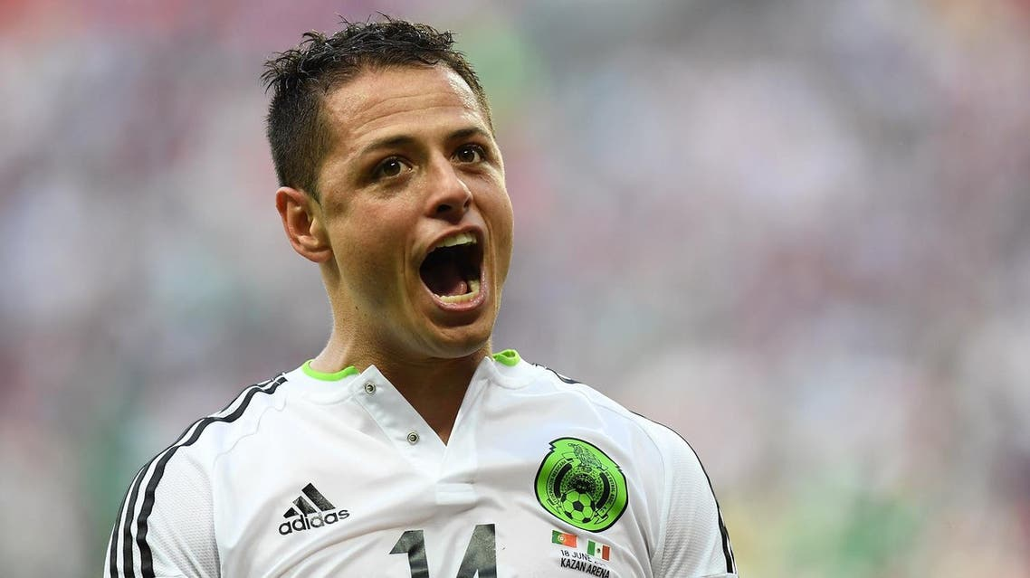 Mexico's forward Javier Hernandez celebrates after scoring a goal during the 2017 Confederations Cup group A football match between Portugal and Mexico at the Kazan Arena in Kazan on June 18, 2017. afp