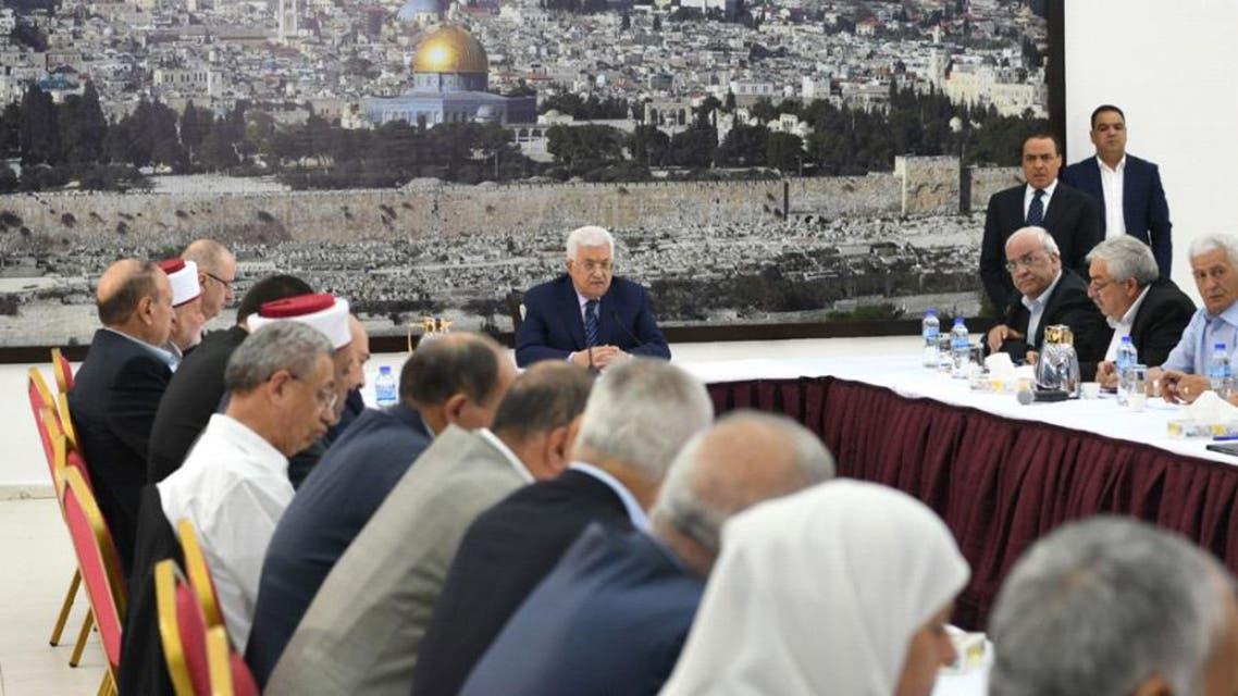 الرئيس الفلسطيني خلال اجتماع القيادة 25-7-2017