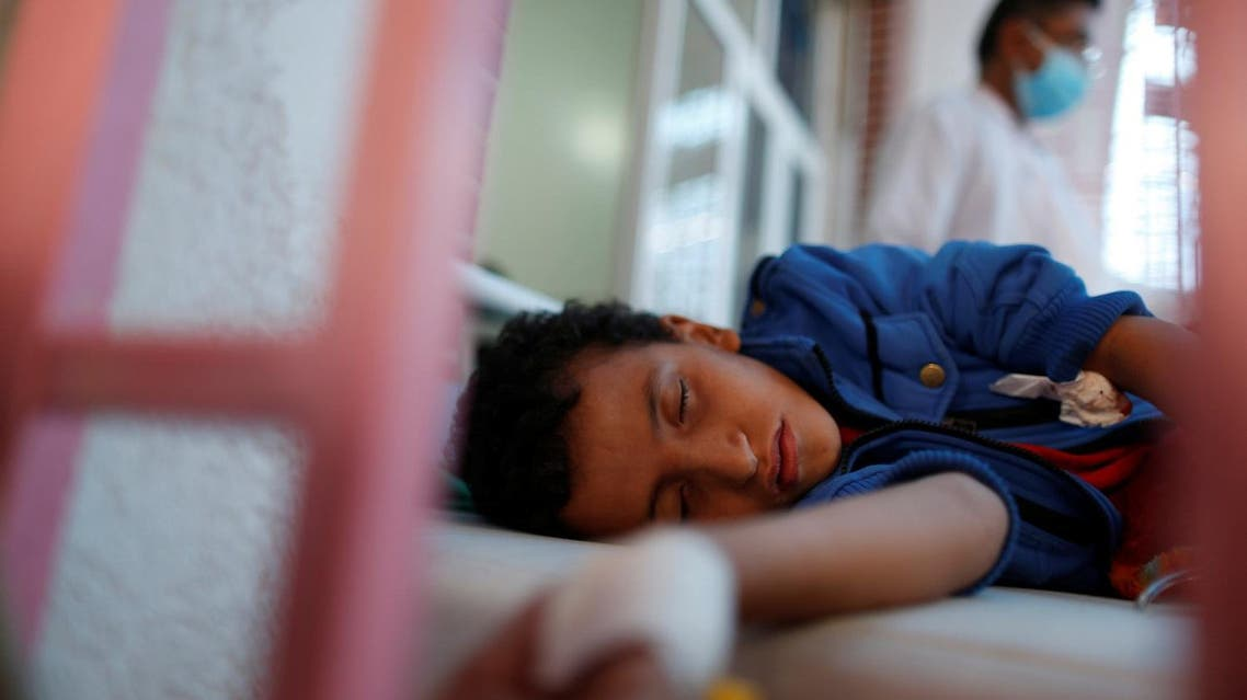 A boy lies on a bed at a cholera treatment center in Sanaa, Yemen May 15, 2017. Picture taken May 15, 2017. REUTERS/Khaled Abdullah