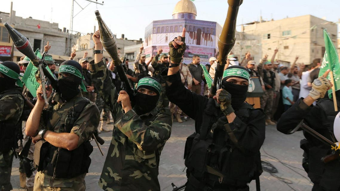 Hamas members take part in a military show in Khan Younis, in the southern Gaza Strip July 20, 2017. (Reuters)