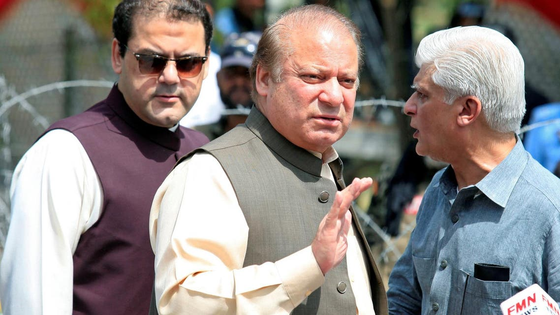 Nawaz Sharif gestures as he speaks to media after appearing before a Joint Investigation Team (JIT) in Islamabad, Pakistan June 15, 2017. (Reuters)