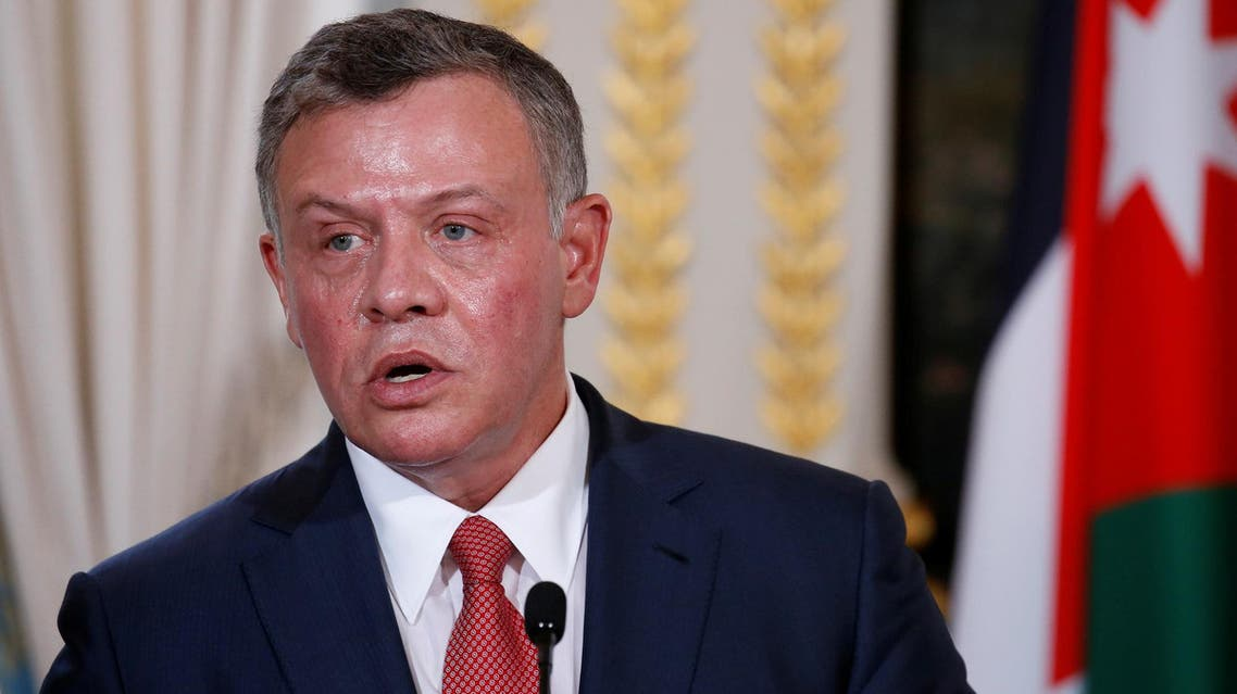 Jordan's King Abdullah attend a joint news conference following a meeting with the French president at the Elysee Palace in Paris on June 19, 2017. (Reuters)