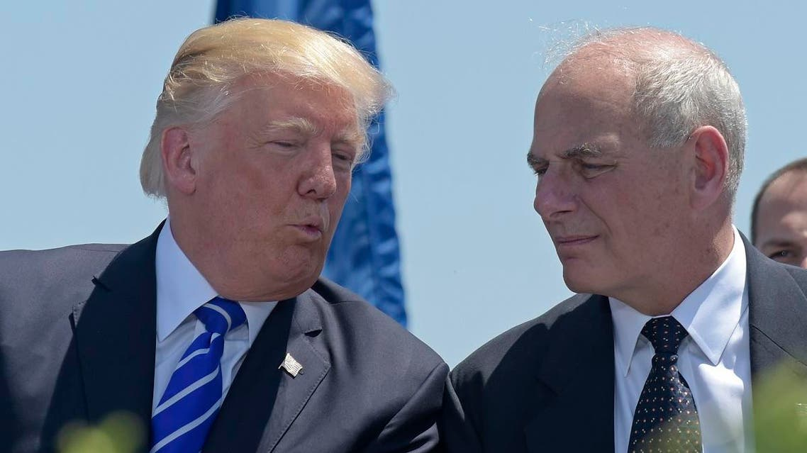In this May 17, 2017, file photo, President Donald Trump talks with Homeland Security Secretary John Kelly during commencement exercises at the U.S. Coast Guard Academy in New London, Conn. (AP)