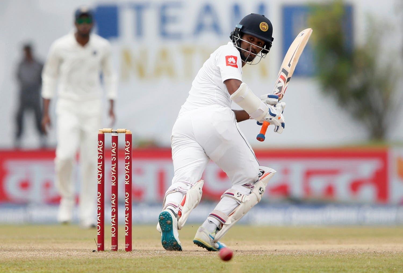 Sri Lanka's Dimuth Karunaratne plays a shot. (Reuters)