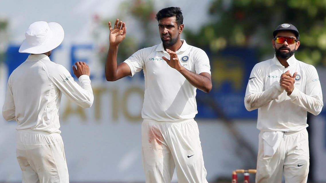 India's Ravichandran Ashwin celebrates with teammates after taking the wicket of Sri Lanka's Niroshan Dickwella (not pictured) at Galle, Sri Lanka, on July 29, 2017. (Reuters)