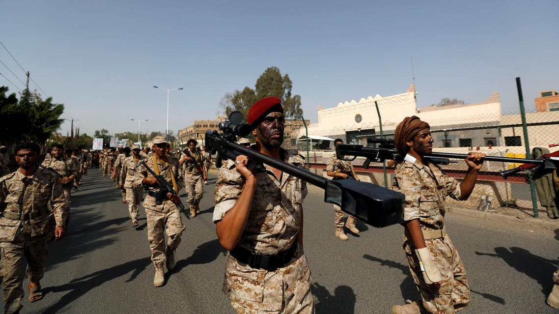 Newly recruited fighters parade outside the U.S. embassy before they join Houthi rebels in the battles frontline at the border with Saudi Arabia and in other parts of Yemen, in the capital Sanaa, Yemen July 17, 2017