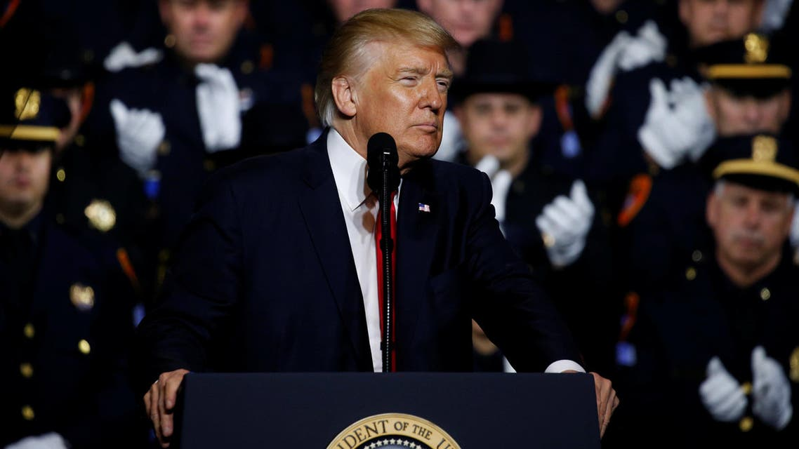 U.S. President Donald Trump delivers remarks about his proposed U.S. government effort against the street gang Mara Salvatrucha, or MS-13, to a gathering of federal, state and local law enforcement officials in Brentwood, New York, U.S. July 28, 2017. REUTERS/Jonathan Ernst