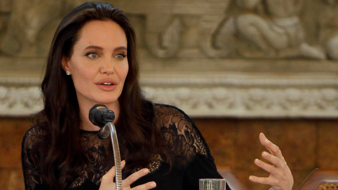 In a Feb. 18, 2017 file photo, actress Angelina Jolie gives a press conference in Siem Reap province, Cambodia. AP