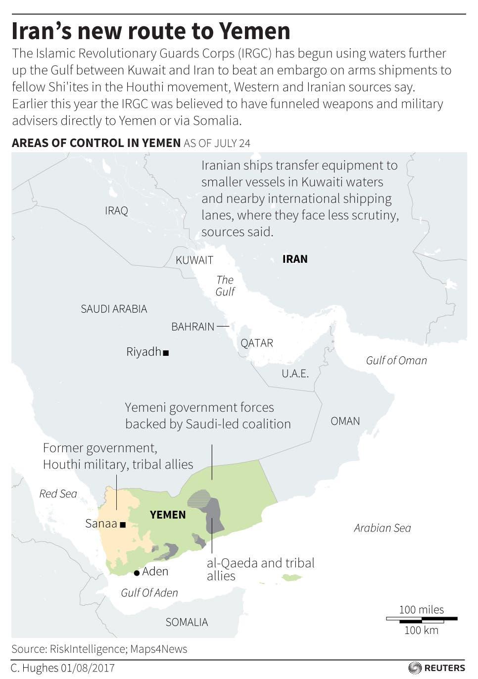 Iran Kuwait Yemen smuggging