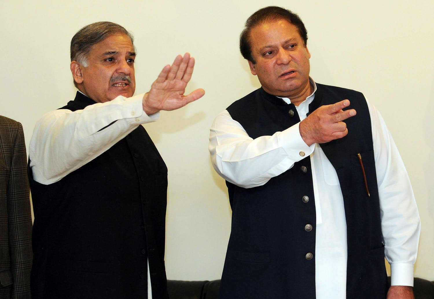 This file photo taken on February 25, 2009 shows Nawaz Sharif with his brother Shahbaz Sharif in Lahore. (AFP)
