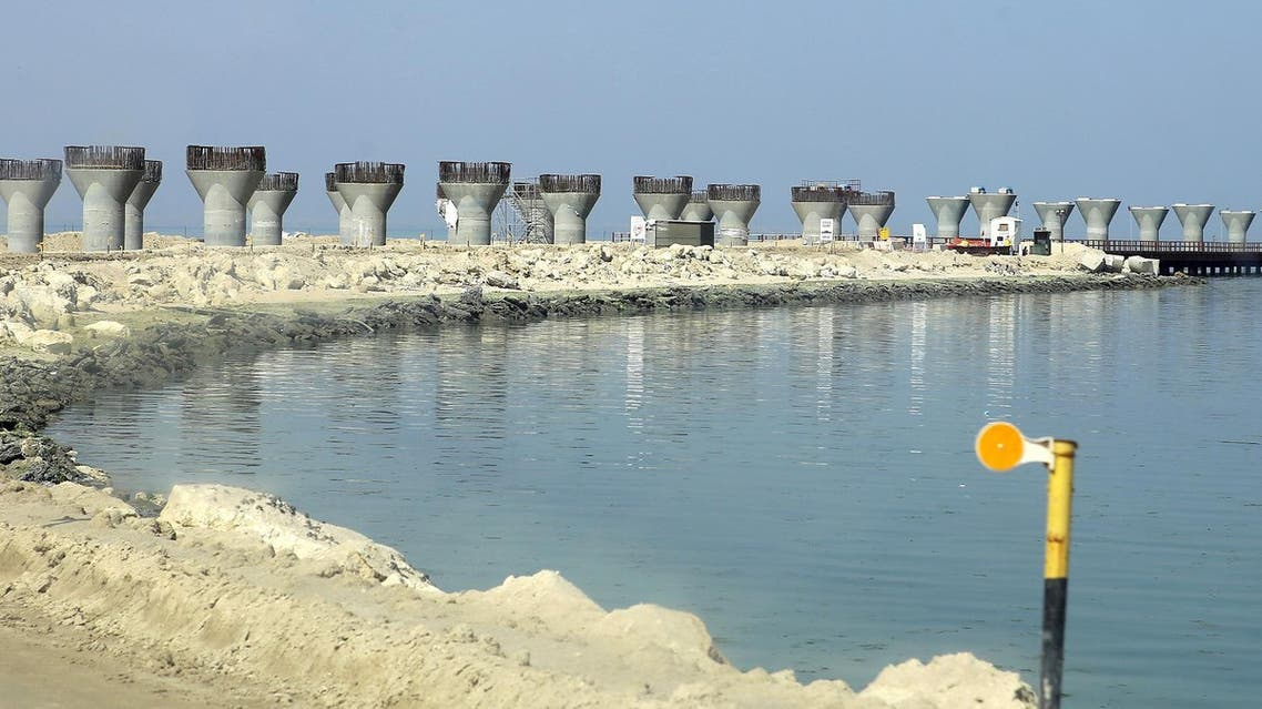 A general view of a construction site of the Sheikh Jaber Al-Ahmad Al-Sabah causeway. (AFP)