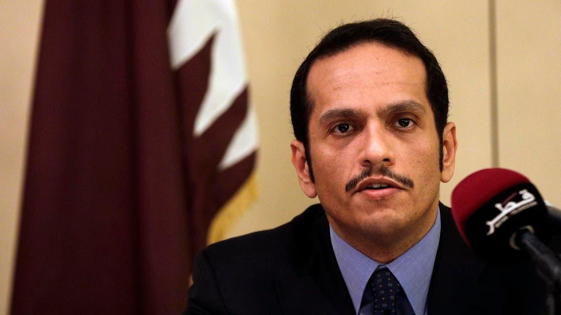 Qatari Foreign Minister Sheikh Mohammed bin Abdulrahman Al Thani, talks to journalists in Rome, Saturday July 1, 2017. (AP)