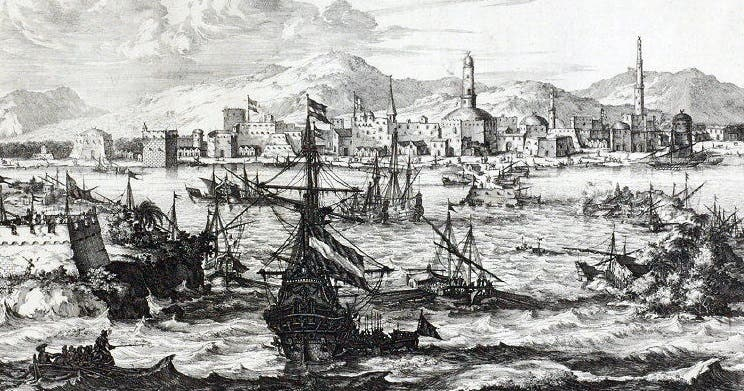 View of the Port of Mokha during the second half of the 17th century by Dutch geographer-mapmaker Olfert Dapper made in 1680