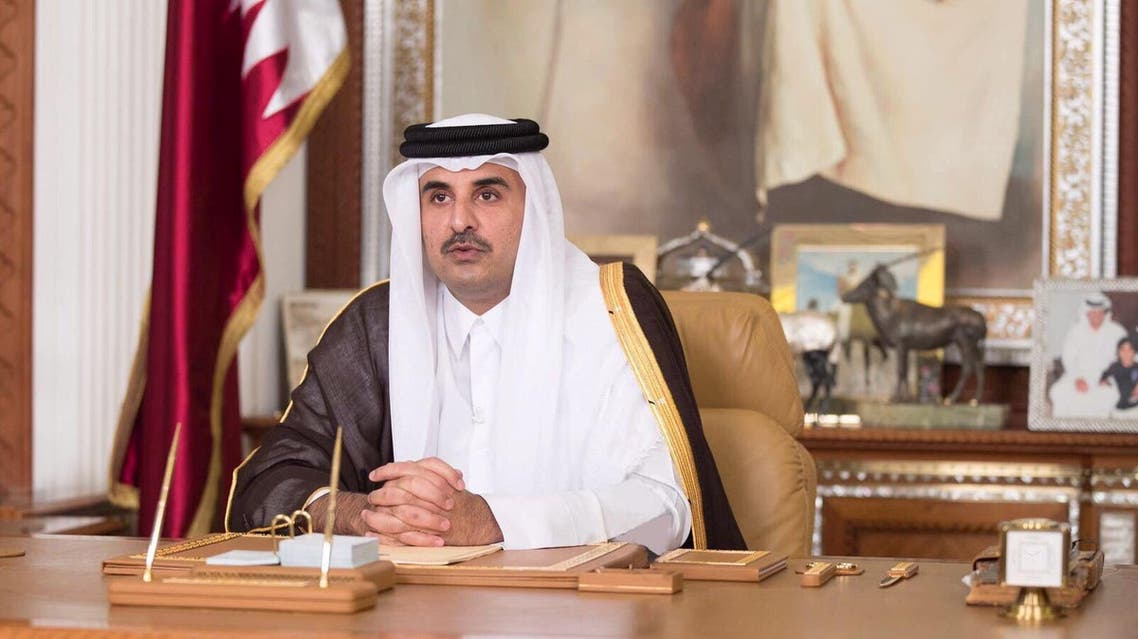 Emir of Qatar Sheikh Tamim bin Hamad al-Thani delivers a televised speech in Doha, Qatar, July 21, 2017. Qatar News Agency/Handout via REUTERS ATTENTION EDITORS - THIS PICTURE WAS PROVIDED BY A THIRD PARTY. NO RESALES. NO ARCHIVE.