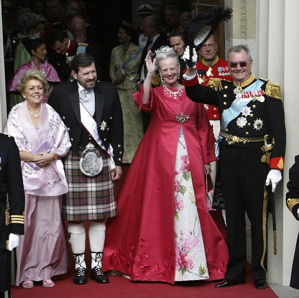 Susan Elizabeth Moody (L), step mother of Crown Princess Mary and her husband John Donaldson (2ndL), father of Princess Mary, stand outside the Copenhagen Cathedral with Danish Queen Margrethe (2ndR) and Prince Henrik (R) May 14, 2004. (Reuters)