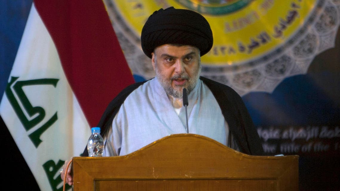 Shiite cleric Moqtada al-Sadr delivers a speech during a gathering in the Iraqi holy city of Najaf on March 19, 2017.  Haidar HAMDANI / AFP