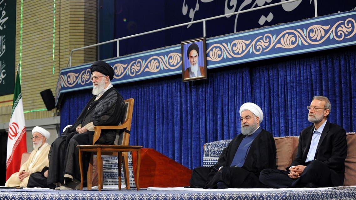 Supreme Leader Ayatollah Ali Khamenei, Speaker Ali Larijani, and Iranian President Hasan Rouhani during Rouhani's swearing in ceremony in Tehran on August 3, 2017. (AFP)