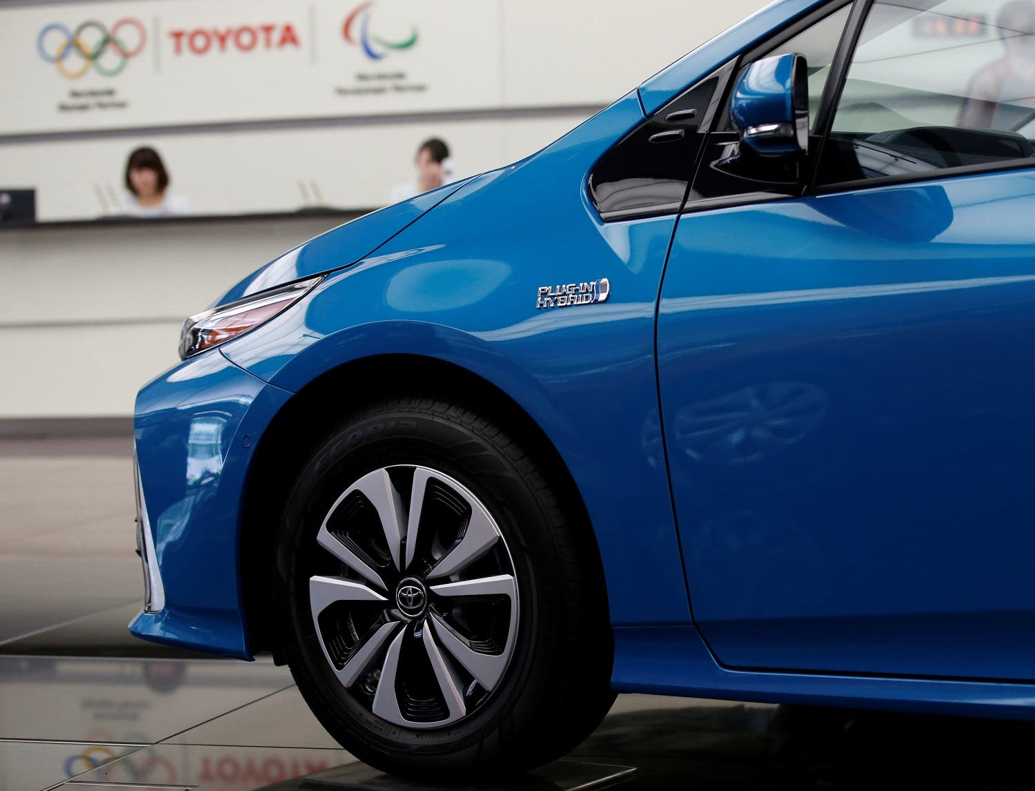 Toyota Motor Corp's Prius PHV is displayed at its head office in Tokyo, on August 4, 2017. (Reuters)