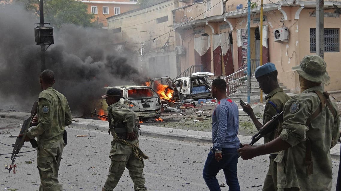 Somalian security personnel secure an area in Mogadishu after a car bomb explosion in the Somalian capital on July 30.  (AFP)