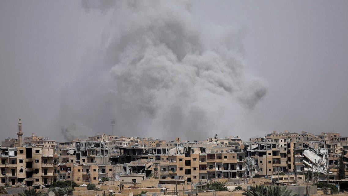 Smoke rises from Raqqa, Syria July 28, 2017. (Reuters)