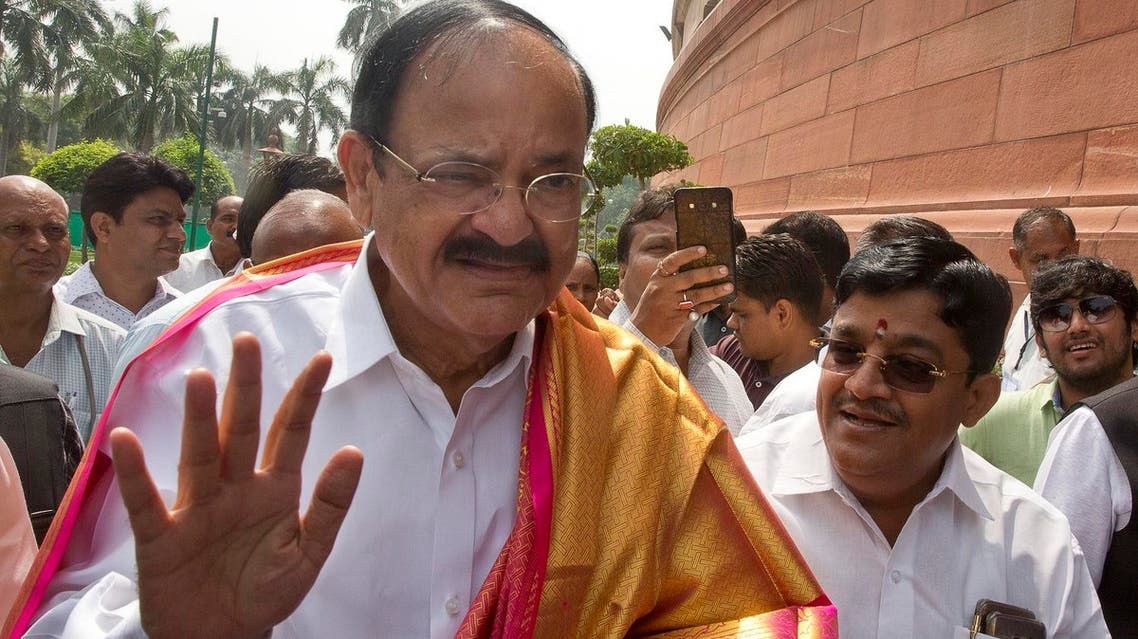 Bharatiya Janata Party or BJP, leader Venkaiah Naidu waves as he arrives at the parliament house to file nomination papers for the vice president election in New Delhi, India, Tuesday, July 18, 2017. (AP)