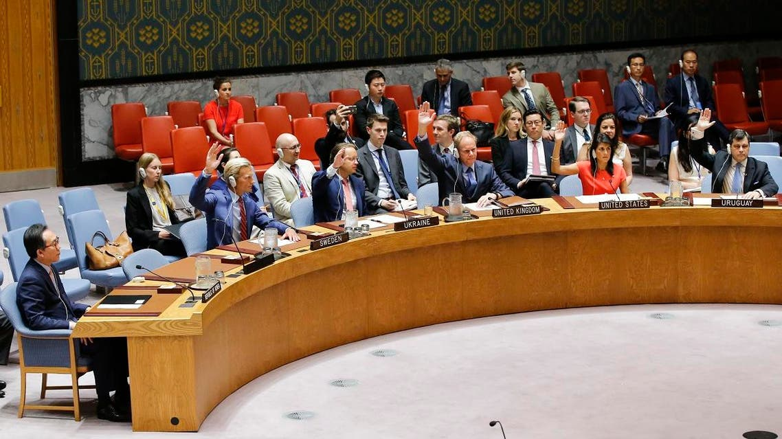 U.N. Security Council members vote on a US-drafted resolution toughening sanctions on North Korea, at the United Nations Headquarters in New York, on August 5, 2017. (AFP)
