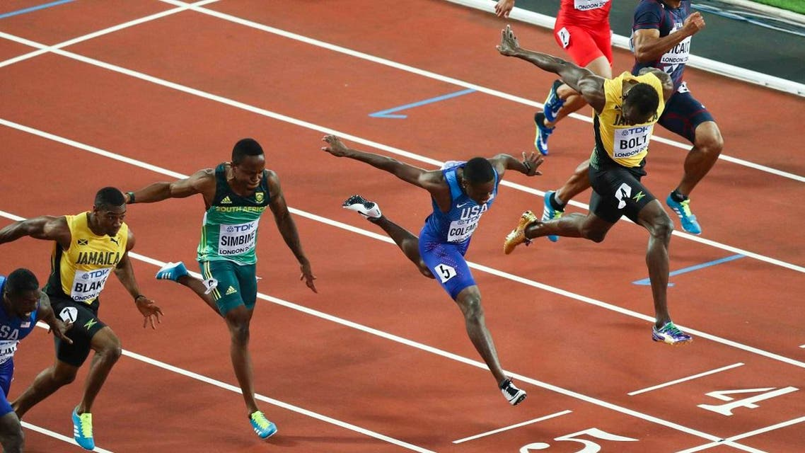 Usain Bolt of Jamaica and Christian Coleman of the US compete. (Reuters)