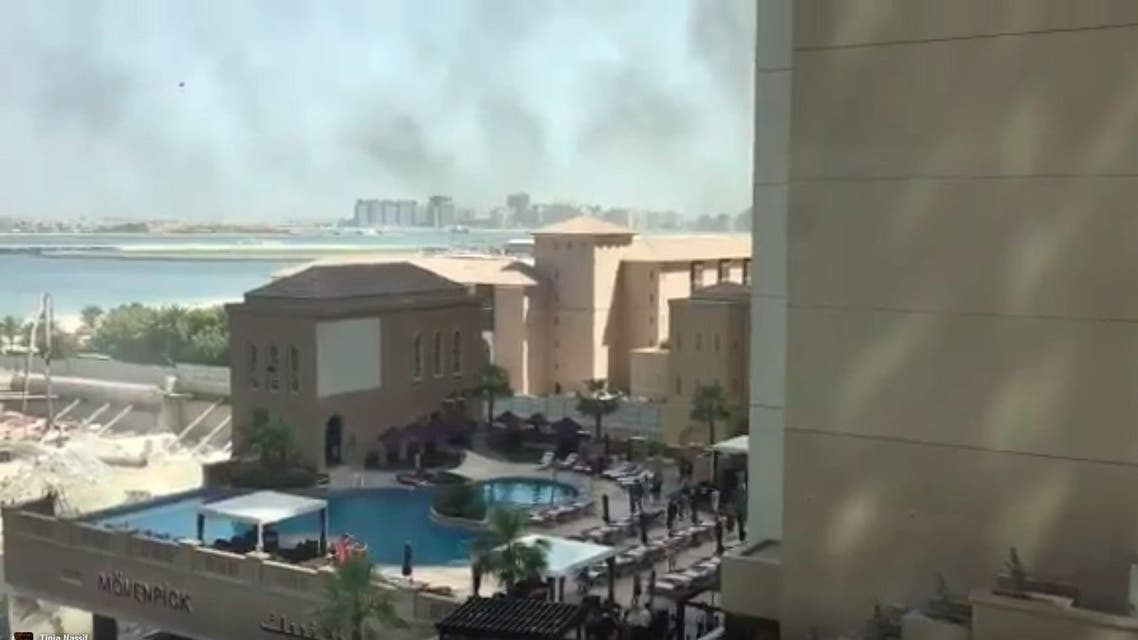 The fire happened at the Movenpick hotel at around 10am local time. (Screengrab)