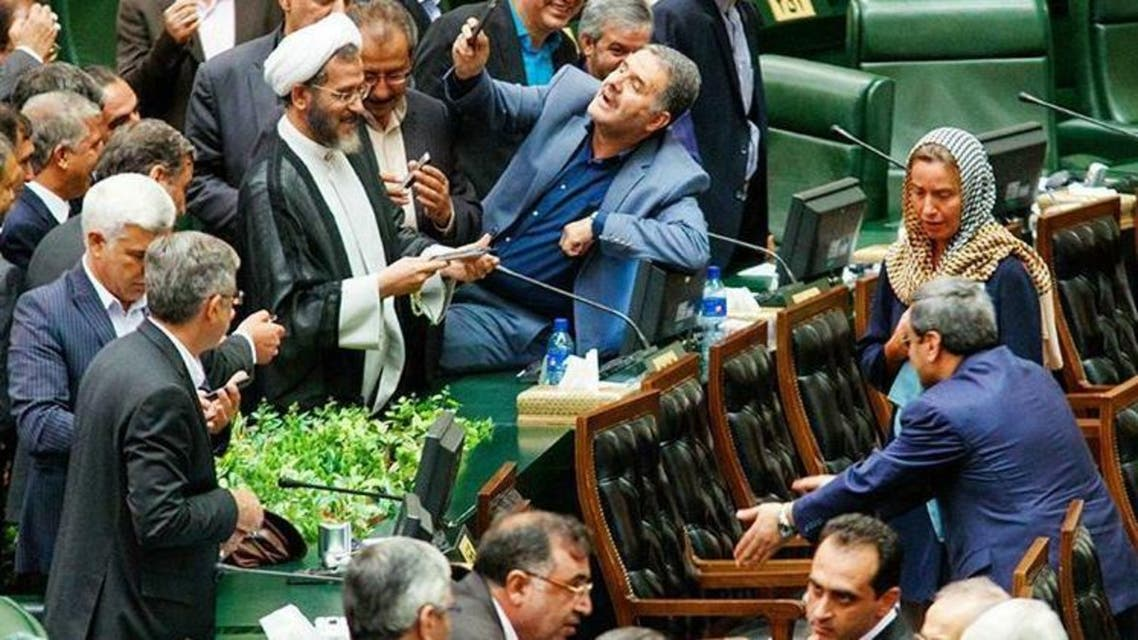 European foreign policy chief Federica Mogherini attends swearing-in ceremony for Iranian president Hassan Rouhani at parliament in Tehran, Iran, August 5, 2017. (Twitter)