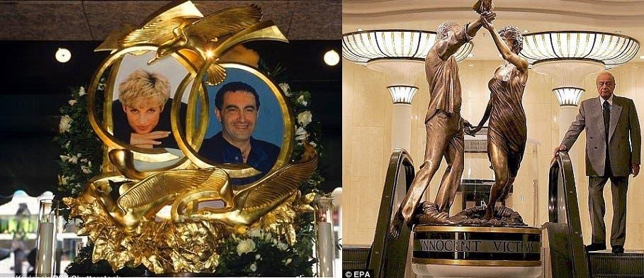 محمد الفايد، البادي في الصورة، جعل لابنه وديانا نصبين تذكارين داخل متجر هارودز
