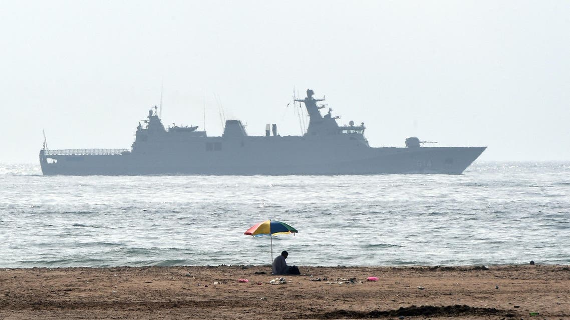 A Moroccan navy ship patrolingon the coast of Tangiers (AFP)
