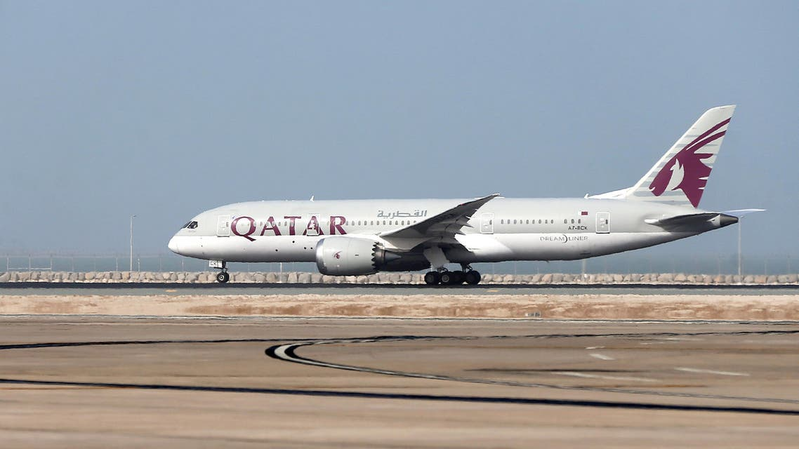 This file photo taken on July 20, 2017 shows a Qatar Airways plane taking-off from the Hamad International Airport in Doha. (AFP)